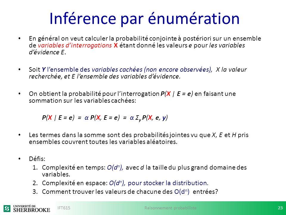 Inférence par énumération En général on veut calculer la probabilité conjointe à postériori sur un ensemble de variables dinterrogations X étant donné