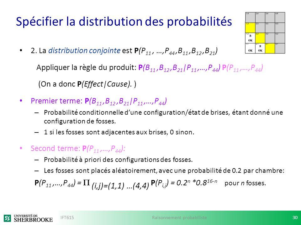 Spécifier la distribution des probabilités 2. La distribution conjointe est P(P 11, …,P 44,B 11,B 12,B 21 ) Appliquer la règle du produit: P(B 11,B 12