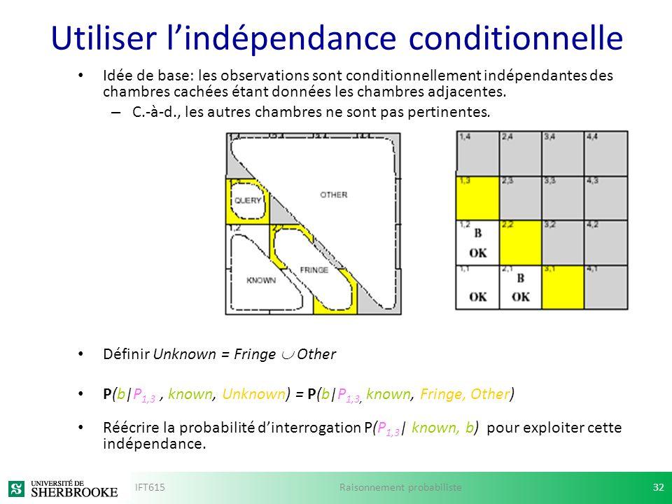 Utiliser lindépendance conditionnelle Idée de base: les observations sont conditionnellement indépendantes des chambres cachées étant données les cham