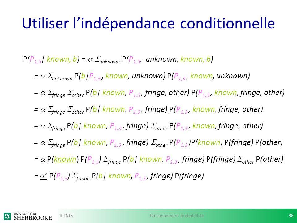 Utiliser lindépendance conditionnelle P(P 1,3 | known, b) = unknown P(P 1,3, unknown, known, b) = unknown P(b|P 1,3, known, unknown) P(P 1,3, known, u