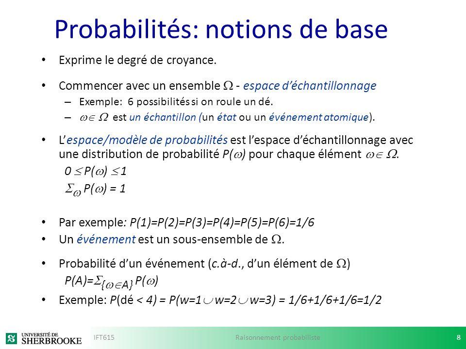 Probabilités: notions de base Exprime le degré de croyance. Commencer avec un ensemble - espace déchantillonnage – Exemple: 6 possibilités si on roule