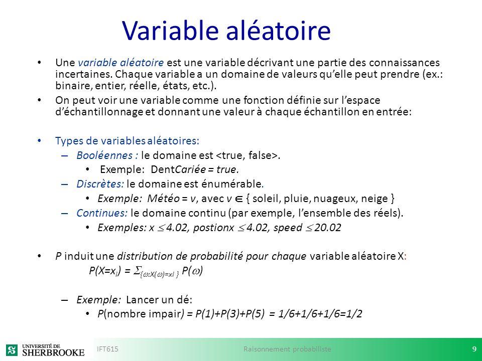 Variable aléatoire Une variable aléatoire est une variable décrivant une partie des connaissances incertaines. Chaque variable a un domaine de valeurs