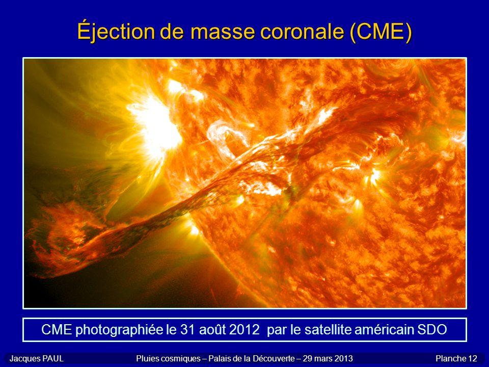 Planche 12Jacques PAULPluies cosmiques – Palais de la Découverte – 29 mars 2013 Éjection de masse coronale (CME) CME CME photographiée le 31 août 2012