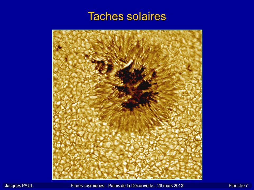 Planche 8Jacques PAULPluies cosmiques – Palais de la Découverte – 29 mars 2013 Corrélation entre taches et aurores minimum de Maunder minimum de Dalton aurores en Europe centrale taches solaires
