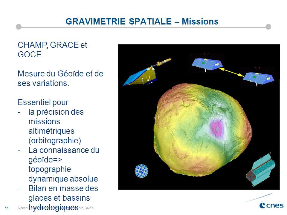 Ocean observation satellites-; Juliette Lambin, CNES 11 GRAVIMETRIE SPATIALE – Missions CHAMP, GRACE et GOCE Mesure du Géoïde et de ses variations. Es