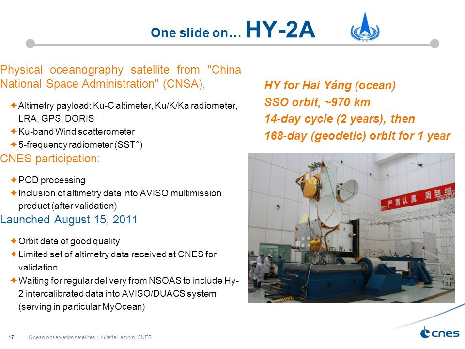 Ocean observation satellites-; Juliette Lambin, CNES 17 One slide on… HY-2A Physical oceanography satellite from China National Space Administration (CNSA), Altimetry payload: Ku-C altimeter, Ku/K/Ka radiometer, LRA, GPS, DORIS Ku-band Wind scatterometer 5-frequency radiometer (SST°) CNES participation: POD processing Inclusion of altimetry data into AVISO multimission product (after validation) Launched August 15, 2011 Orbit data of good quality Limited set of altimetry data received at CNES for validation Waiting for regular delivery from NSOAS to include Hy- 2 intercalibrated data into AVISO/DUACS system (serving in particular MyOcean) HY for Hai Yáng (ocean) SSO orbit, ~970 km 14-day cycle (2 years), then 168-day (geodetic) orbit for 1 year