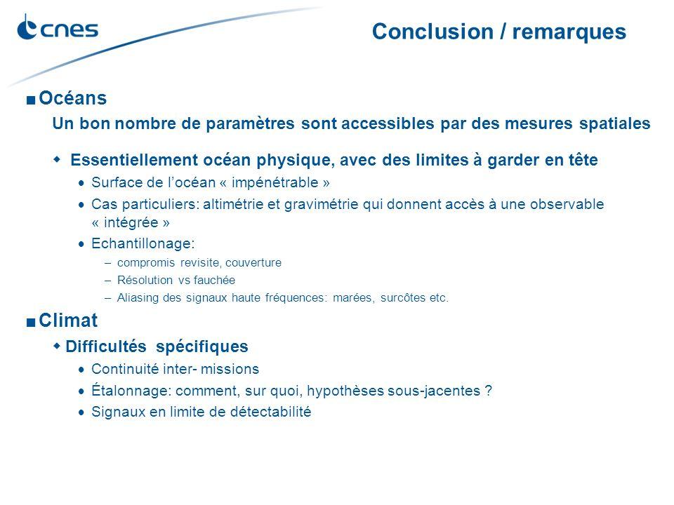 Conclusion / remarques Océans Un bon nombre de paramètres sont accessibles par des mesures spatiales Essentiellement océan physique, avec des limites