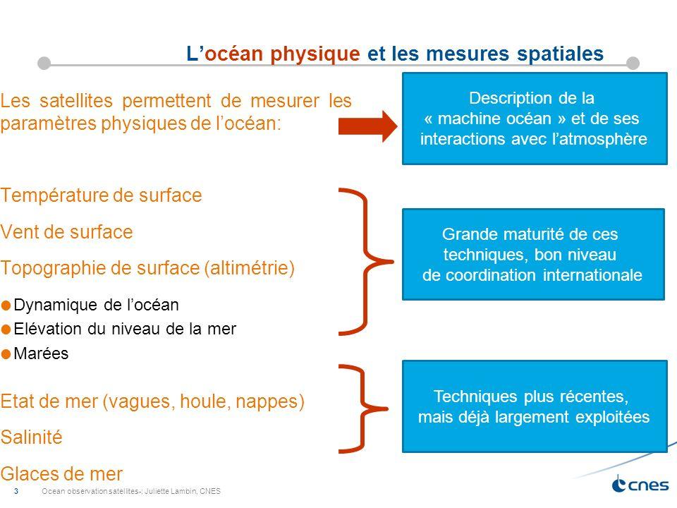 Ocean observation satellites-; Juliette Lambin, CNES 3 Locéan physique et les mesures spatiales Les satellites permettent de mesurer les paramètres ph