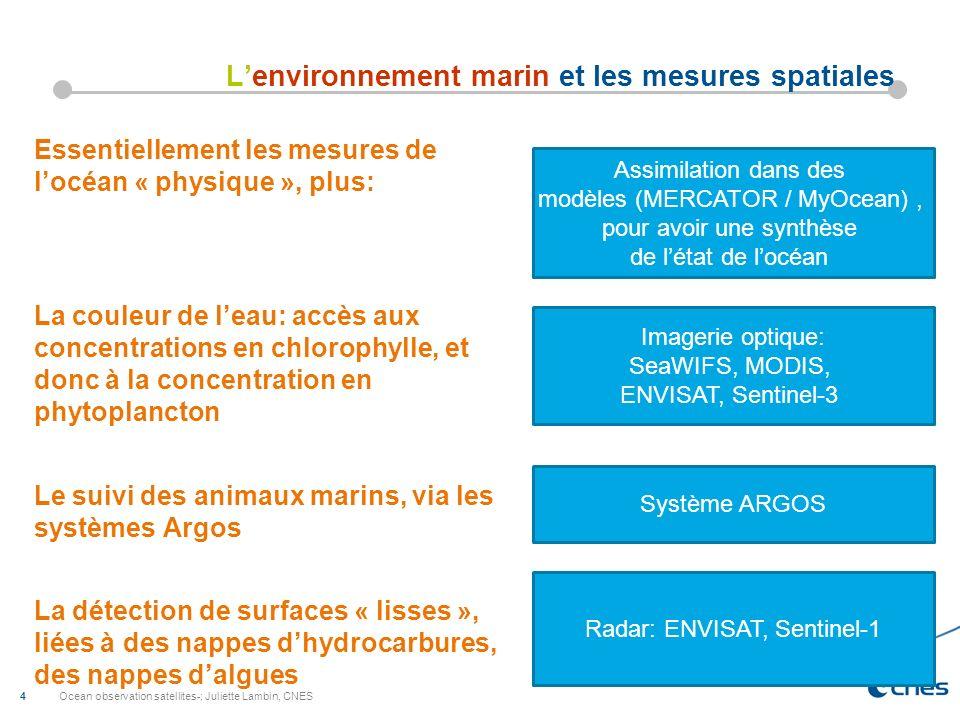 Ocean observation satellites-; Juliette Lambin, CNES 4 Lenvironnement marin et les mesures spatiales Essentiellement les mesures de locéan « physique