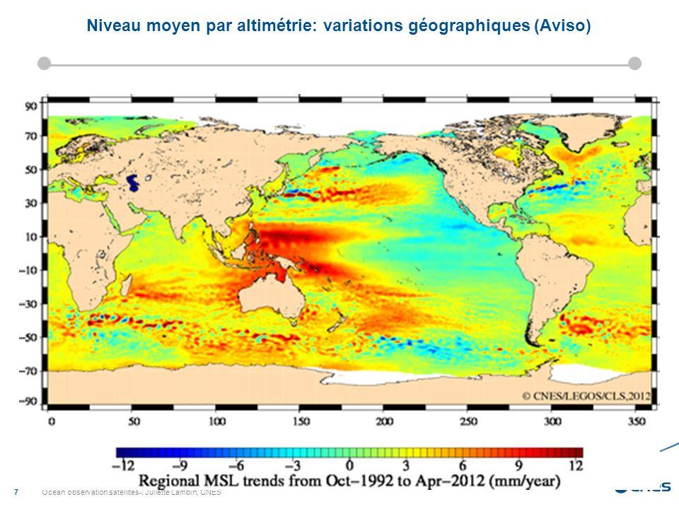 Ocean observation satellites-; Juliette Lambin, CNES 7 Niveau moyen par altimétrie: variations géographiques (Aviso)