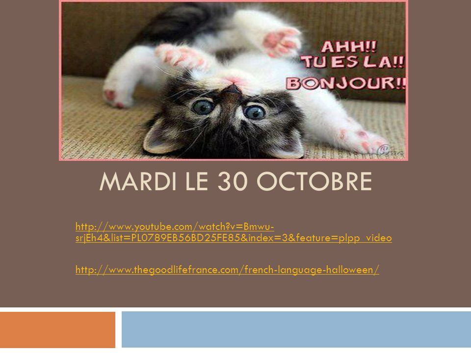 MARDI LE 30 OCTOBRE http://www.youtube.com/watch v=Bmwu- srjEh4&list=PL0789EB56BD25FE85&index=3&feature=plpp_video http://www.thegoodlifefrance.com/french-language-halloween/