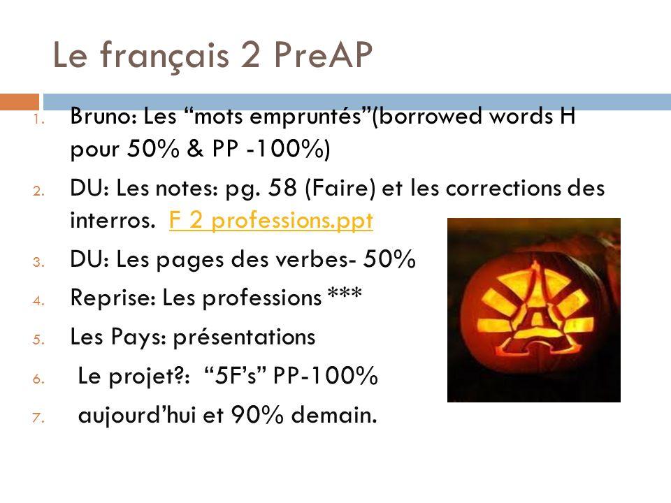 Le français 2 PreAP 1. Bruno: Les mots empruntés(borrowed words H pour 50% & PP -100%) 2.