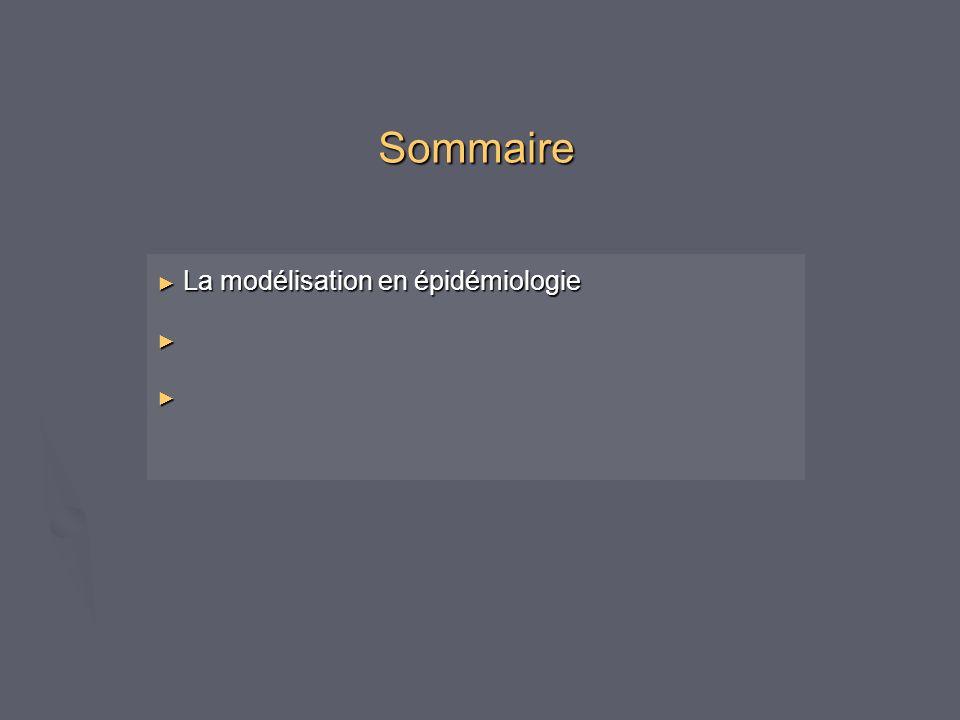 Sommaire La modélisation en épidémiologie La modélisation en épidémiologie