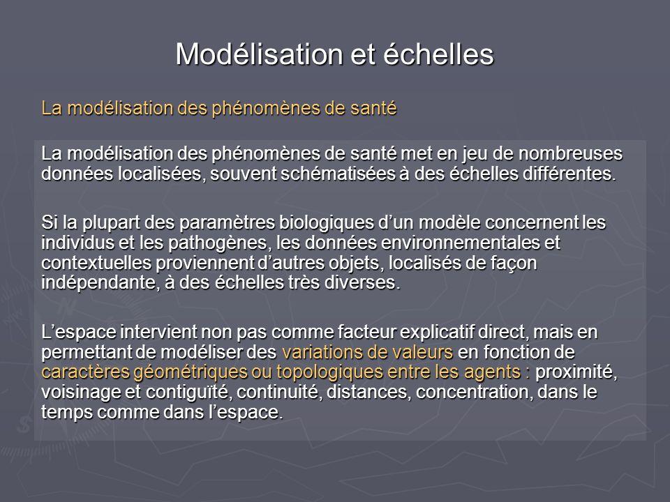 Deux grands techniques de modélisation : La macro-modélisation, plutôt déterministe, à partir déquations analytiques (souvent différentielles), et traitant de populations La macro-modélisation, plutôt déterministe, à partir déquations analytiques (souvent différentielles), et traitant de populations La micro-modélisation, avec résolution numérique par pas de temps fini, utilisant des lois de comportement, traitant dobjets qui sont à léchelle des prises de décision (individus, ménages, vecteurs…) et non des populations, et utilisant une démarche stochastique sur ces individus pour résoudre le hasard des comportements.