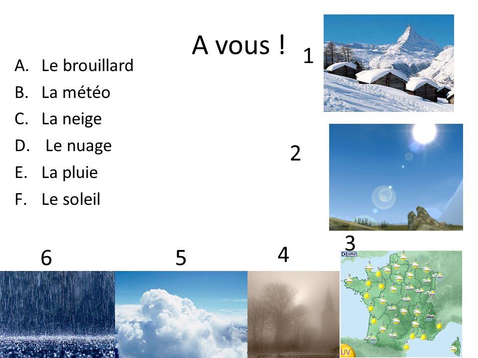 A vous ! A.Le brouillard B.La météo C.La neige D. Le nuage E.La pluie F.Le soleil 1 2 3 4 56
