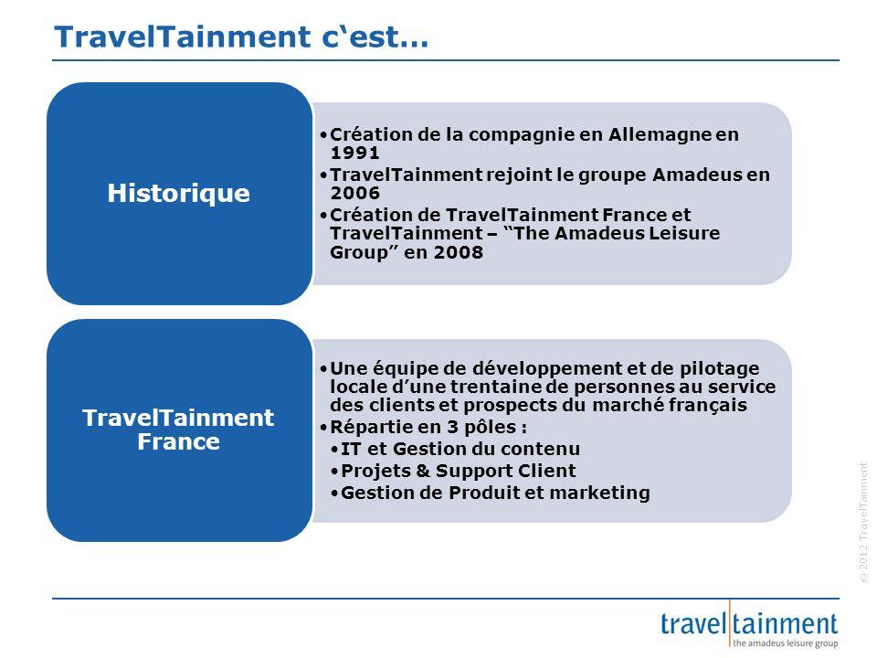 © 2012 TravelTainment Mission de TravelTainment TravelTainment – the Amadeus Leisure Group exploite et développe pour le marché du « Loisir » des solutions uniques en multi-canal avec une croissance rapide..
