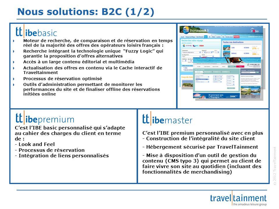 © 2012 TravelTainment Nous solutions: B2C (1/2) Moteur de recherche, de comparaison et de réservation en temps réel de la majorité des offres des opér