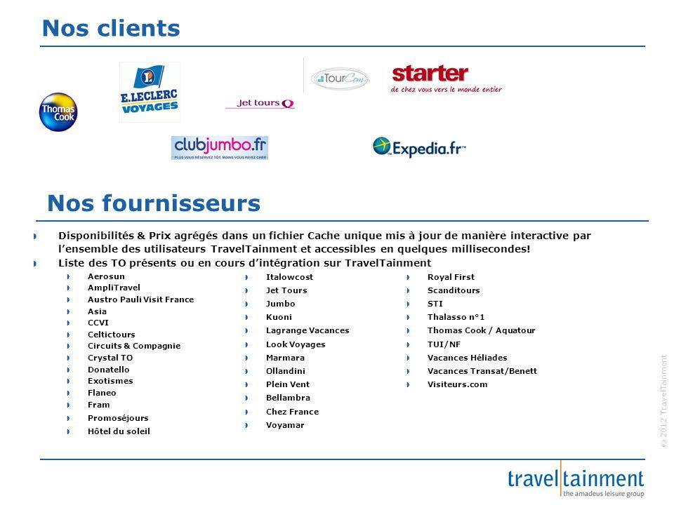 © 2012 TravelTainment Nos clients Nos fournisseurs Disponibilités & Prix agrégés dans un fichier Cache unique mis à jour de manière interactive par le