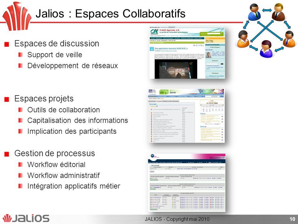 Jalios : Espaces Collaboratifs Espaces de discussion Support de veille Développement de réseaux Espaces projets Outils de collaboration Capitalisation