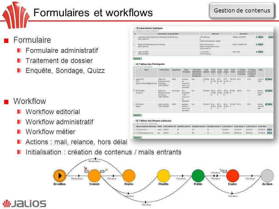 Formulaires et workflows Formulaire Formulaire administratif Traitement de dossier Enquête, Sondage, Quizz Workflow Workflow editorial Workflow admini