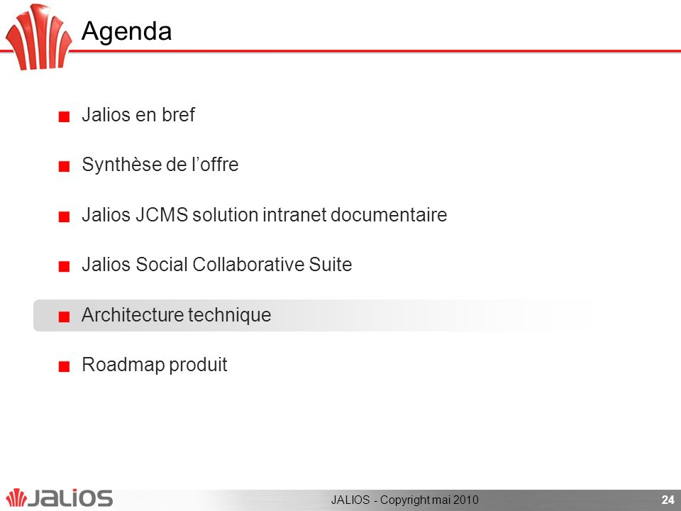 Agenda Jalios en bref Synthèse de loffre Jalios JCMS solution intranet documentaire Jalios Social Collaborative Suite Architecture technique Roadmap produit 24JALIOS - Copyright mai 2010