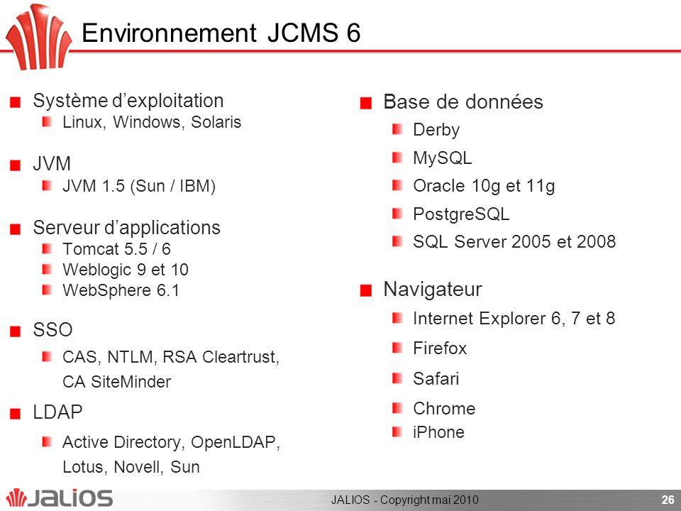 26 Système dexploitation Linux, Windows, Solaris JVM JVM 1.5 (Sun / IBM) Serveur dapplications Tomcat 5.5 / 6 Weblogic 9 et 10 WebSphere 6.1 SSO CAS,