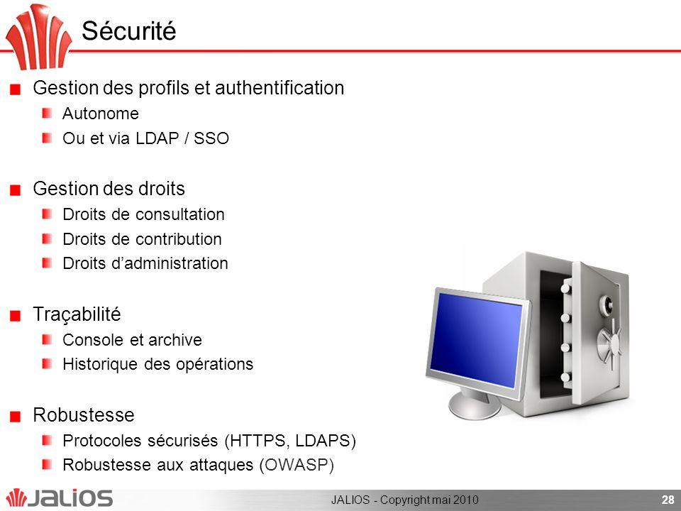 Gestion des profils et authentification Autonome Ou et via LDAP / SSO Gestion des droits Droits de consultation Droits de contribution Droits dadminis