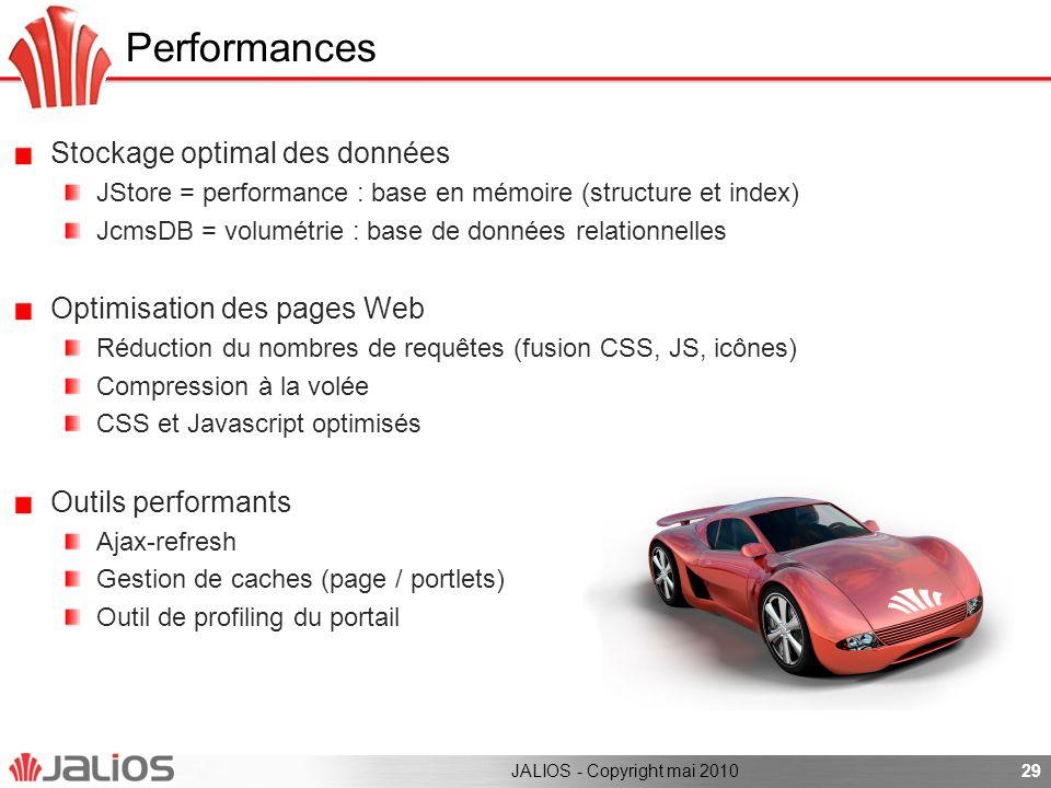 Performances Stockage optimal des données JStore = performance : base en mémoire (structure et index) JcmsDB = volumétrie : base de données relationne