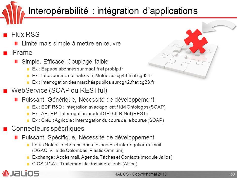 Interopérabilité : intégration dapplications Flux RSS Limité mais simple à mettre en œuvre iFrame Simple, Efficace, Couplage faible Ex : Espace abonné