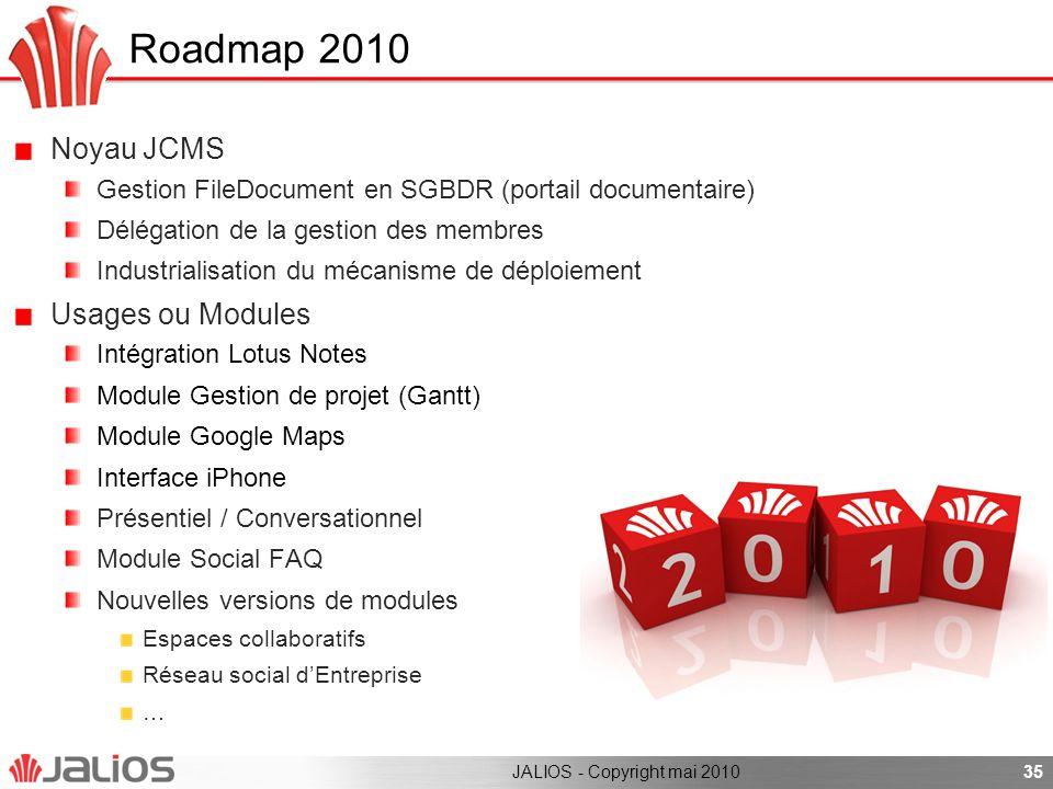 35 Noyau JCMS Gestion FileDocument en SGBDR (portail documentaire) Délégation de la gestion des membres Industrialisation du mécanisme de déploiement