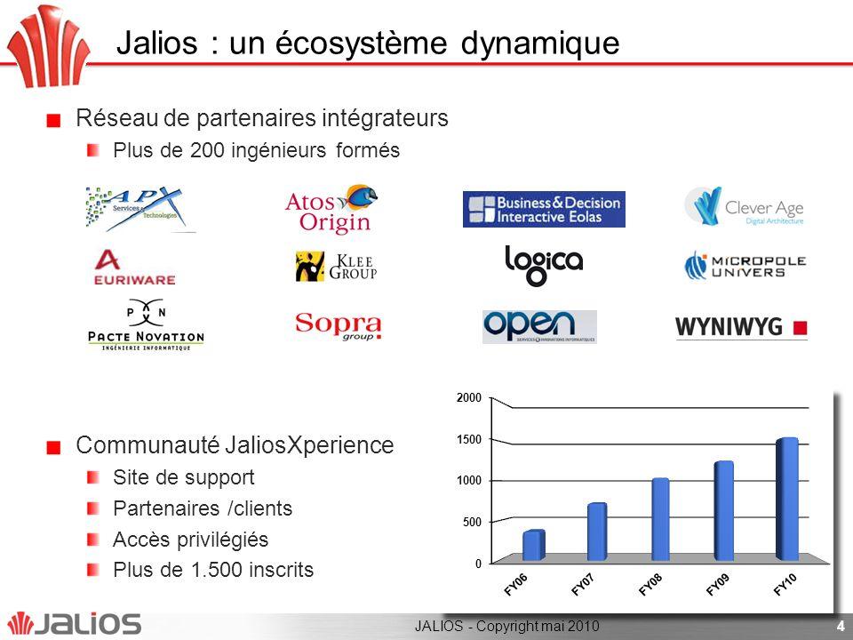 4 Jalios : un écosystème dynamique Réseau de partenaires intégrateurs Plus de 200 ingénieurs formés Communauté JaliosXperience Site de support Partena