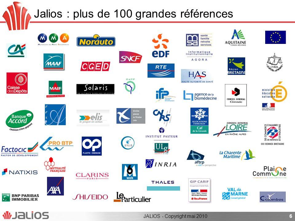 Agenda Jalios en bref Synthèse de loffre Jalios JCMS solution intranet documentaire Jalios Social Collaborative Suite Architecture technique Roadmap produit 7JALIOS - Copyright mai 2010