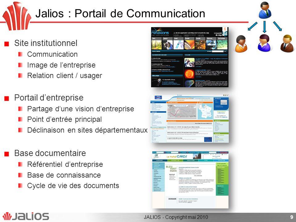 Jalios : Portail de Communication Site institutionnel Communication Image de lentreprise Relation client / usager Portail dentreprise Partage dune vis
