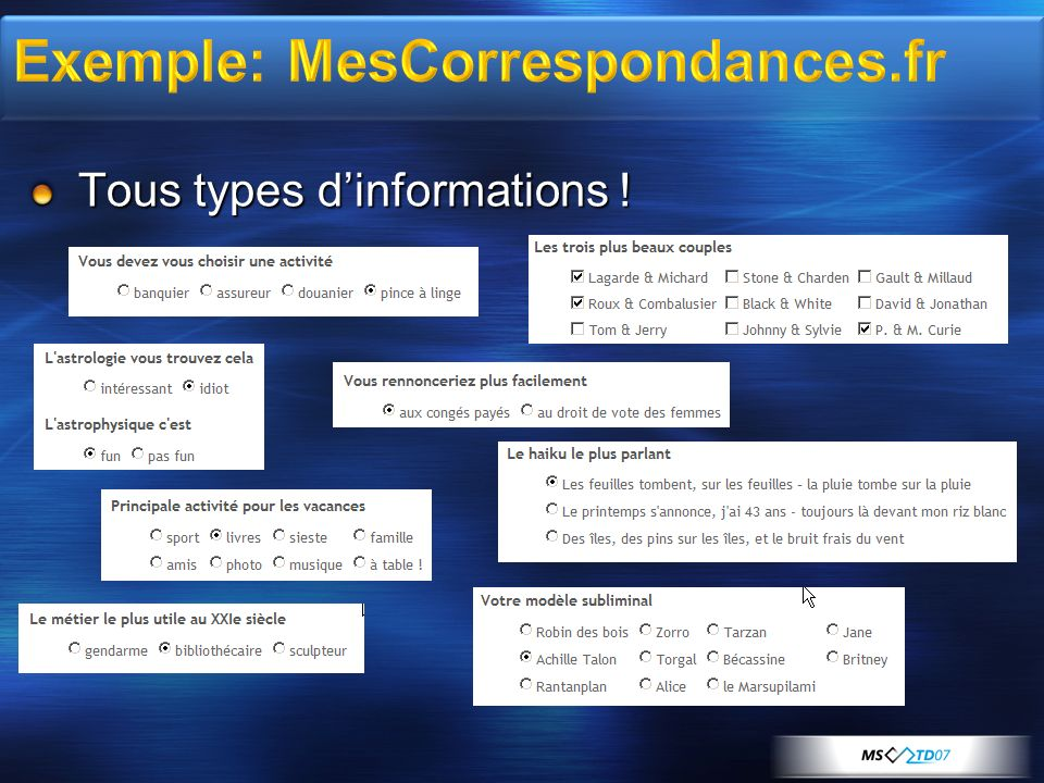 Tous types dinformations !