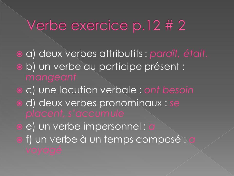 a) deux verbes attributifs : paraît, était. b) un verbe au participe présent : mangeant c) une locution verbale : ont besoin d) deux verbes pronominau