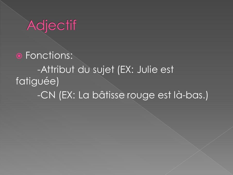 Fonctions: -Attribut du sujet (EX: Julie est fatiguée) -CN (EX: La bâtisse rouge est là-bas.)