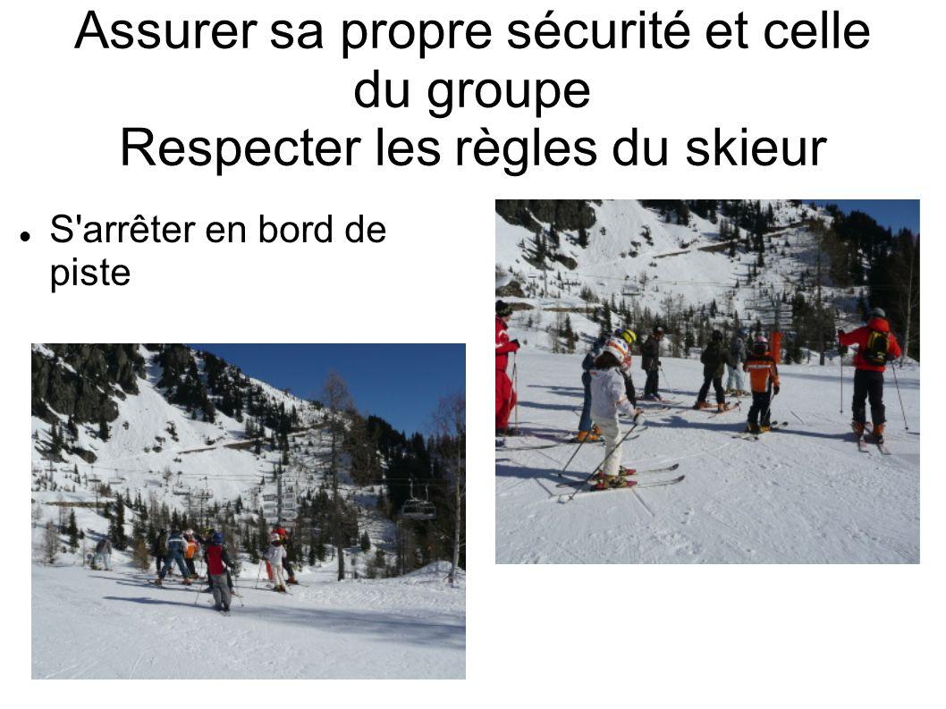 Assurer sa propre sécurité et celle du groupe Respecter les règles du skieur S'arrêter en bord de piste