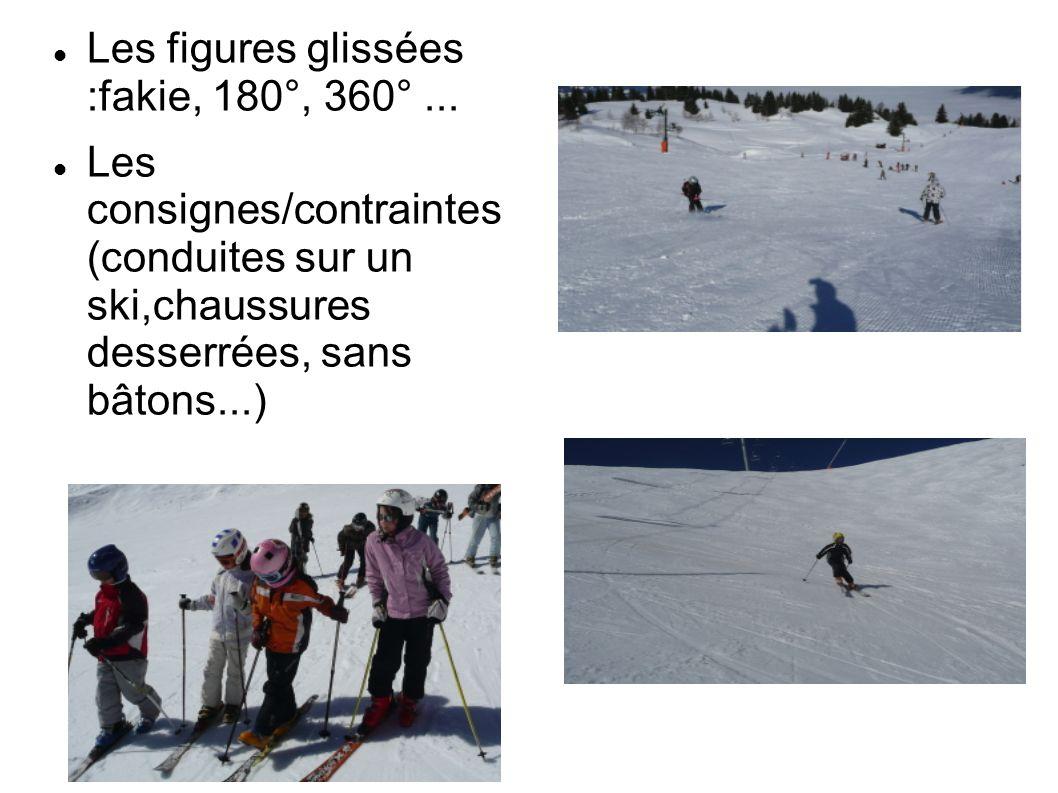 Les figures glissées :fakie, 180°, 360°... Les consignes/contraintes (conduites sur un ski,chaussures desserrées, sans bâtons...)