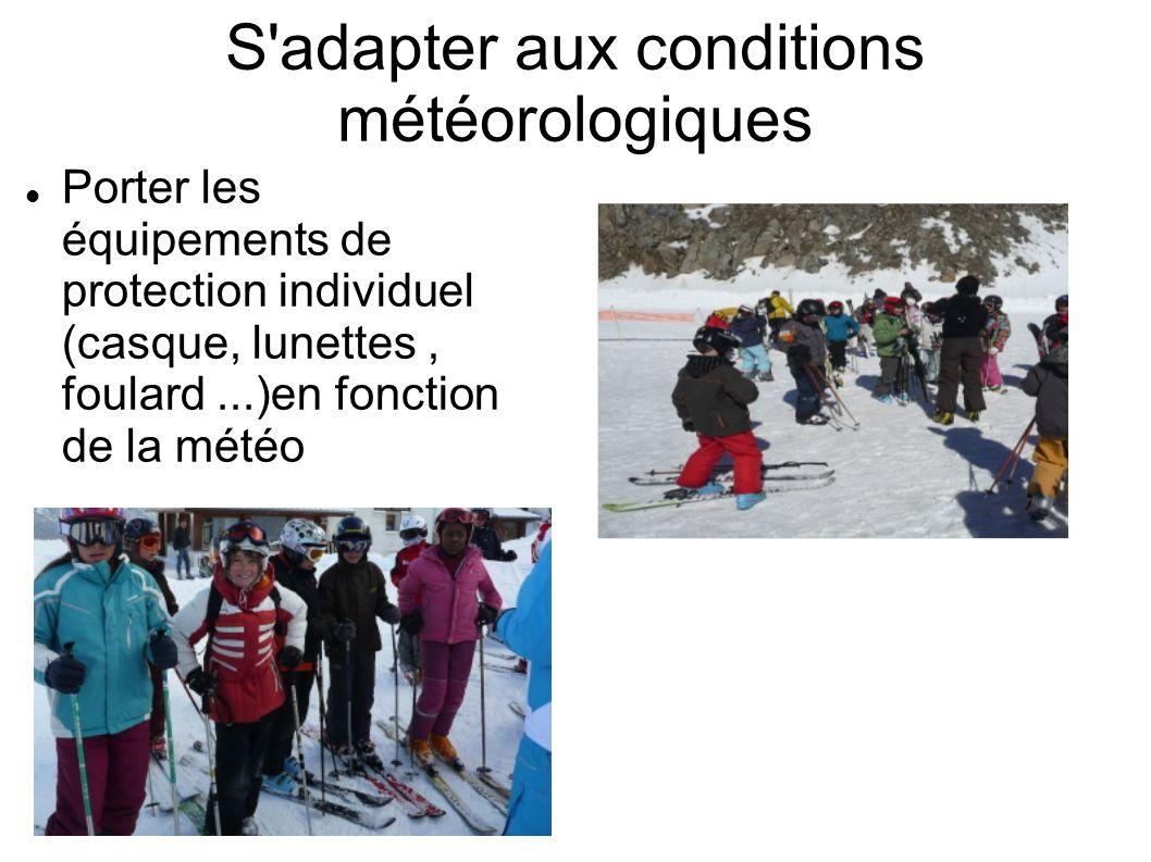 S'adapter aux conditions météorologiques Porter les équipements de protection individuel (casque, lunettes, foulard...)en fonction de la météo