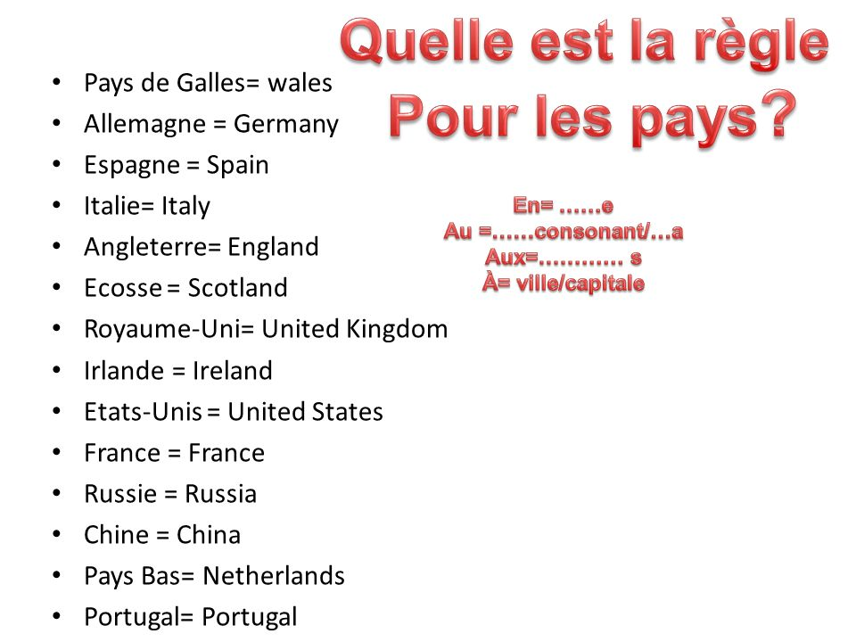 Pays de Galles= wales Allemagne = Germany Espagne = Spain Italie= Italy Angleterre= England Ecosse = Scotland Royaume-Uni= United Kingdom Irlande = Ir
