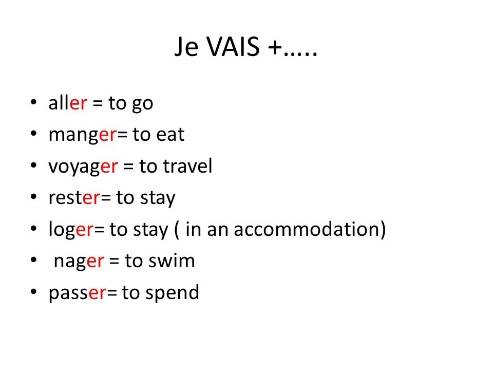 Je VAIS +….. aller = to go manger= to eat voyager = to travel rester= to stay loger= to stay ( in an accommodation) nager = to swim passer= to spend