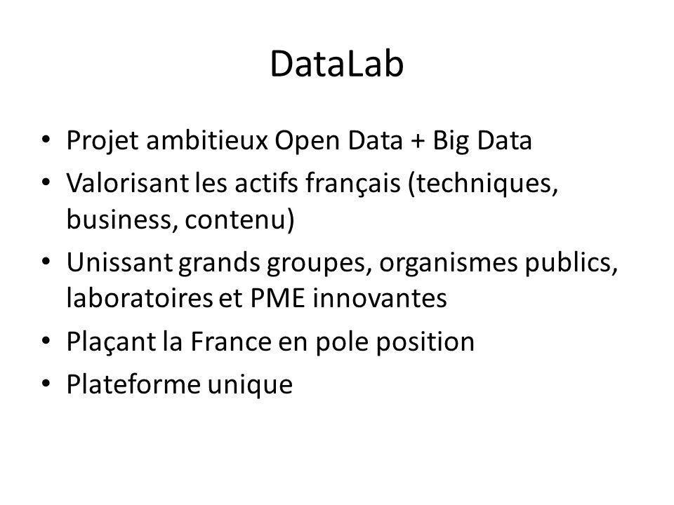 DataLab Projet ambitieux Open Data + Big Data Valorisant les actifs français (techniques, business, contenu) Unissant grands groupes, organismes publics, laboratoires et PME innovantes Plaçant la France en pole position Plateforme unique