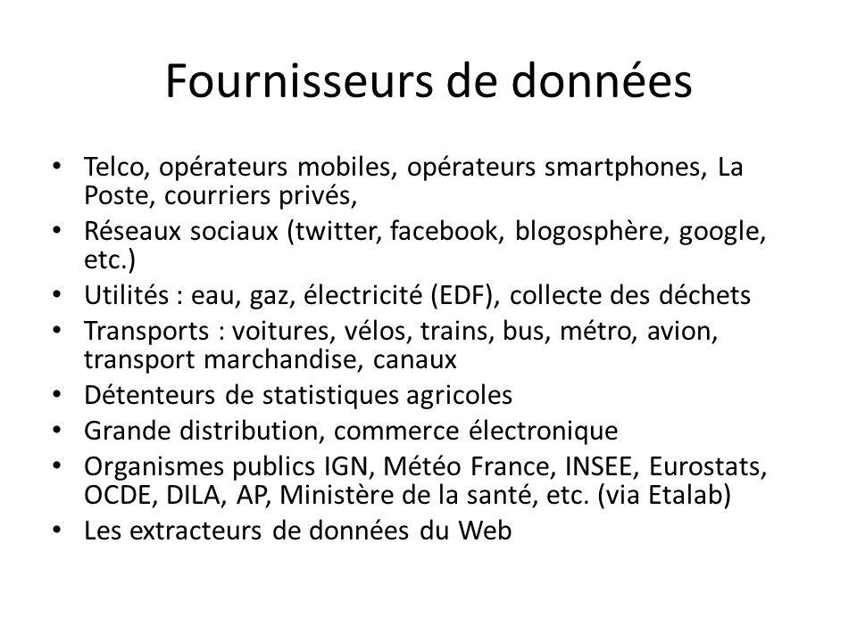 Fournisseurs de données Telco, opérateurs mobiles, opérateurs smartphones, La Poste, courriers privés, Réseaux sociaux (twitter, facebook, blogosphère