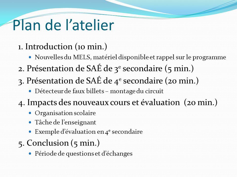 Plan de latelier 1. Introduction (10 min.) Nouvelles du MELS, matériel disponible et rappel sur le programme 2. Présentation de SAÉ de 3 e secondaire