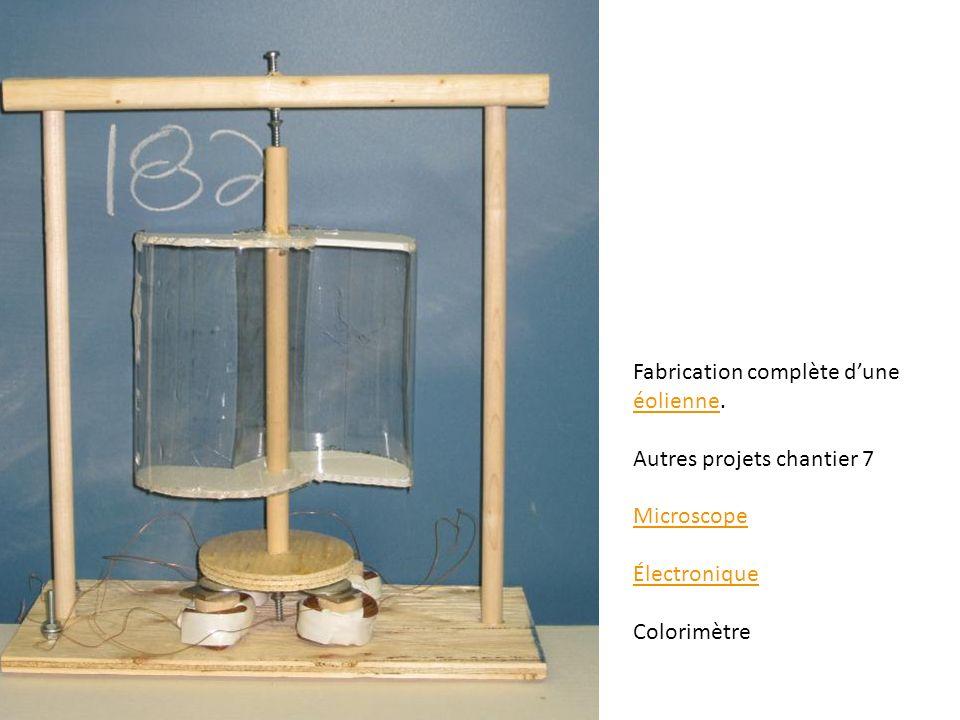 Fabrication complète dune éolienne. éolienne Autres projets chantier 7 Microscope Électronique Colorimètre