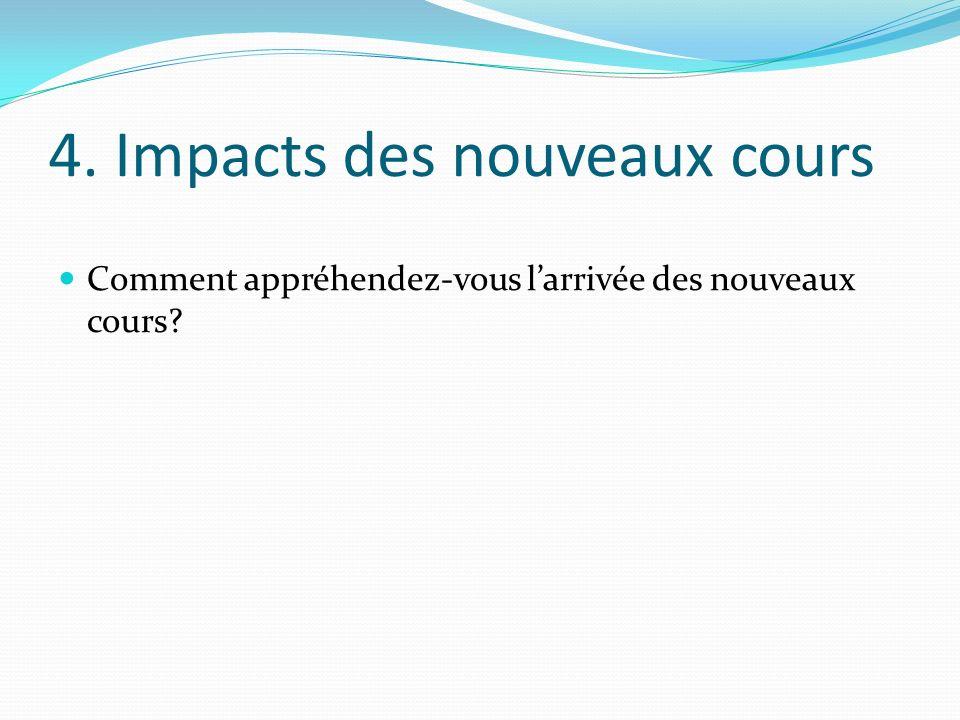 4. Impacts des nouveaux cours Comment appréhendez-vous larrivée des nouveaux cours?