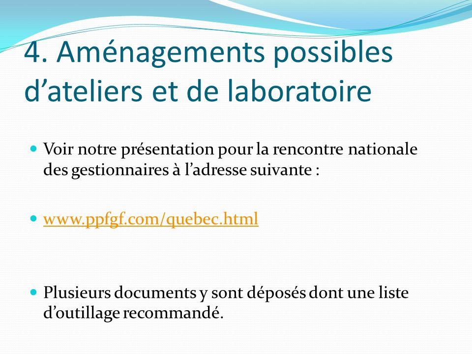 4. Aménagements possibles dateliers et de laboratoire Voir notre présentation pour la rencontre nationale des gestionnaires à ladresse suivante : www.