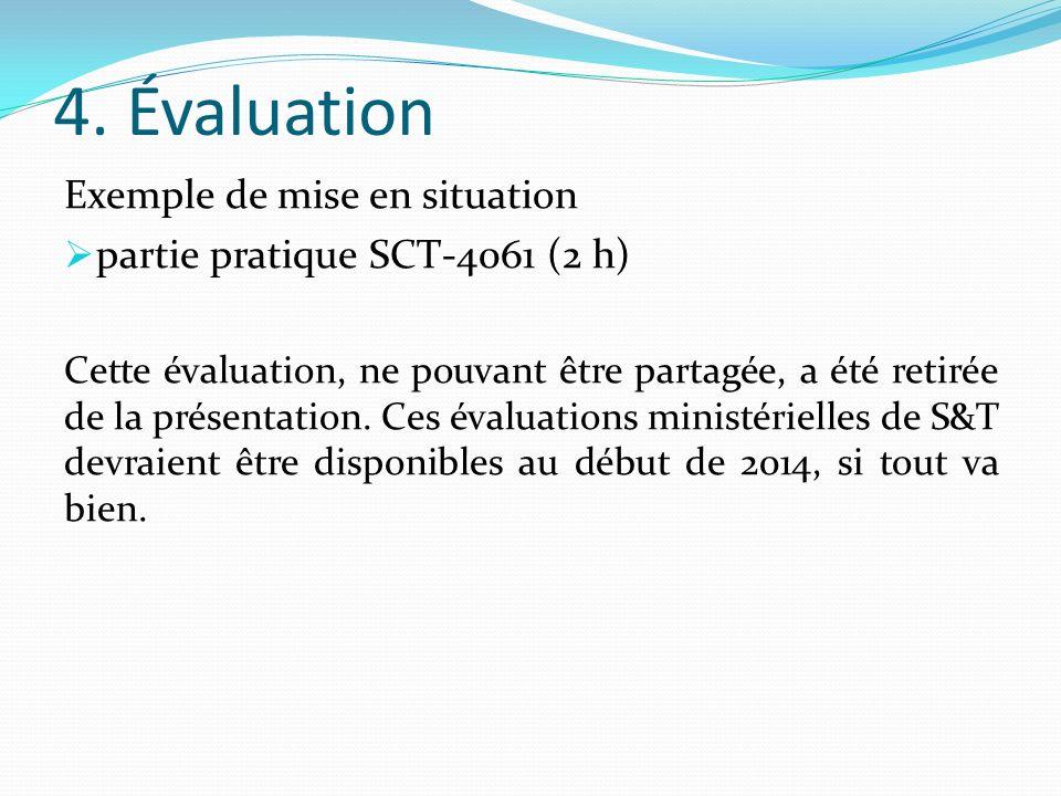 4. Évaluation Exemple de mise en situation partie pratique SCT-4061 (2 h) Cette évaluation, ne pouvant être partagée, a été retirée de la présentation