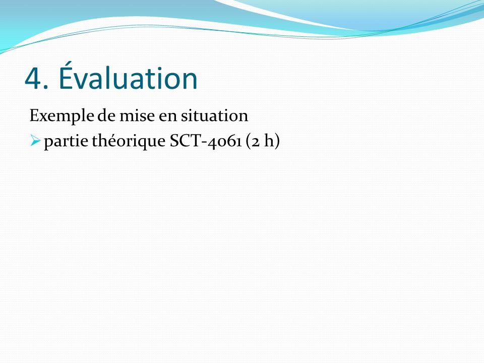 4. Évaluation Exemple de mise en situation partie théorique SCT-4061 (2 h)