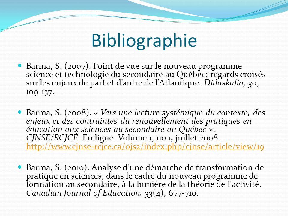 Barma, S. (2007). Point de vue sur le nouveau programme science et technologie du secondaire au Québec: regards croisés sur les enjeux de part et daut